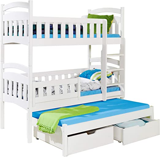 Alter GM Litera Triple DOMI 3 Moderna Cama Nido Alta cajones Escalera 3 niños Madera de Pino, Blanco, Right-Hand Side: Amazon.es: Hogar