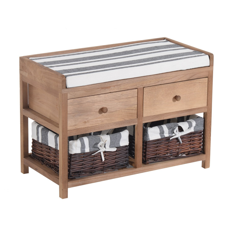 Amazing Amazon.com: HomCom 2 Drawer 2 Basket Padded Cubby Bench    Brown/Gray/Black/White: Kitchen U0026 Dining