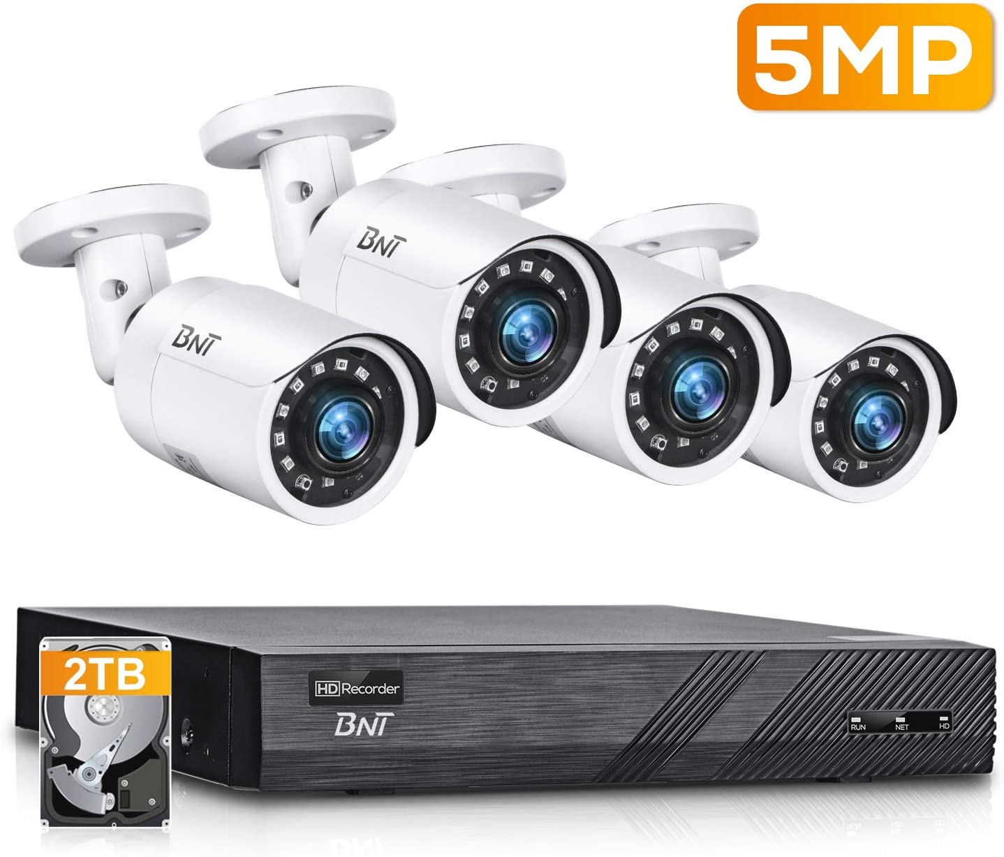 BNT 8CH 5MP PoE Outdoor Security Camera System, 4pcs Wired 5MP PoE Outdoor IP Cameras, 4K 8-Channel NVR Security System with 2TB HDD for 24/7 Camera Recording