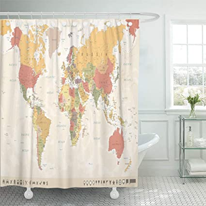 Amazon Com Emvency Waterproof Fabric Shower Curtain Hooks Beige