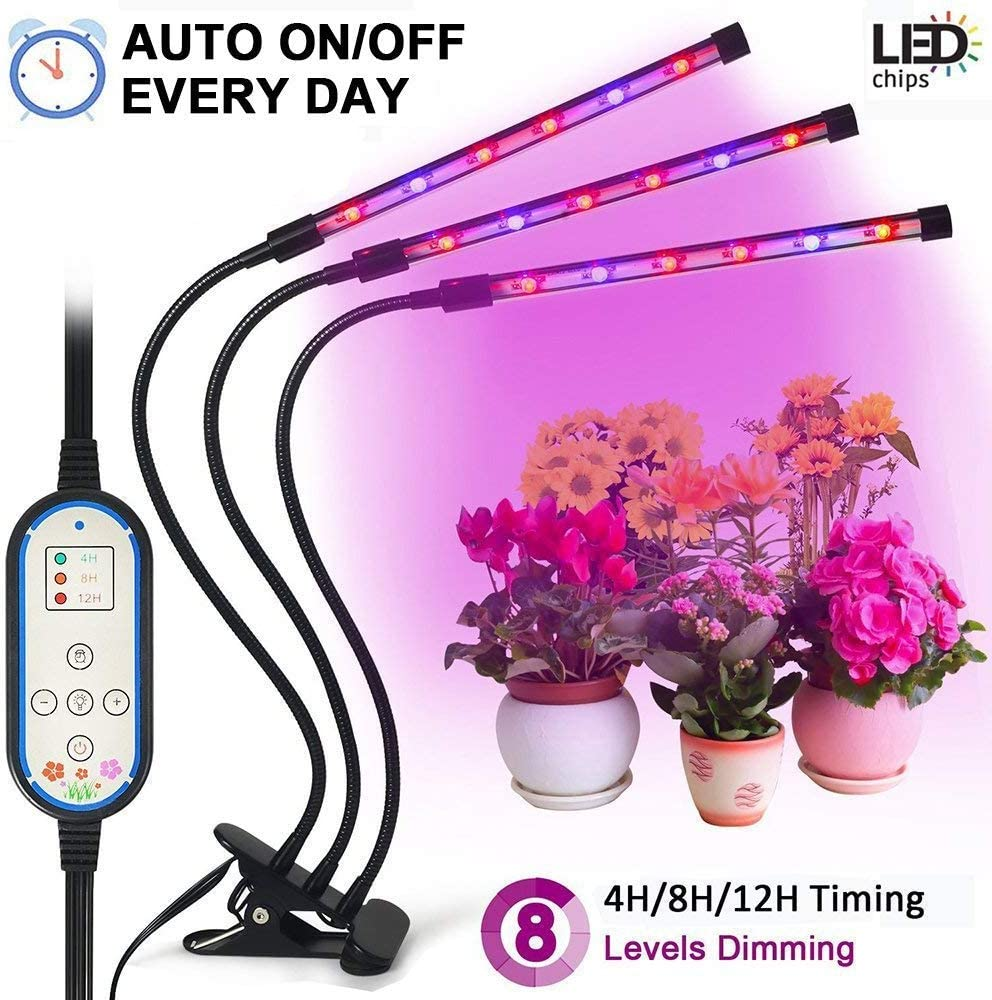 Tankuy Cycle Timing Grow Light, Auto On off Everyday 4H 8H 12H 8 Levels Plant Lamp with 360 Degree Adjustable Gooseneck for Indoor Plants Small Tent Potted Hydroponic Garden Greenhouse