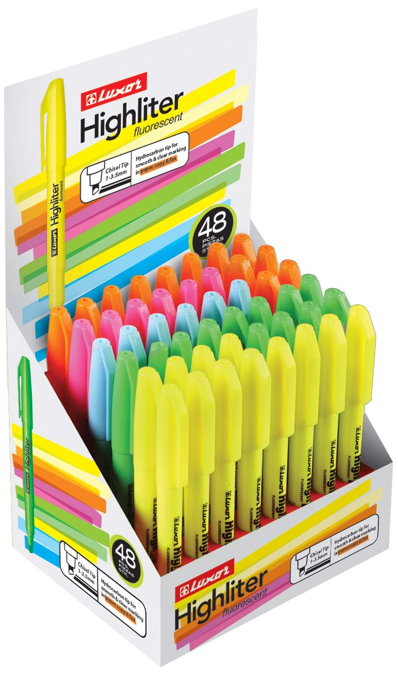 Fluorescent Highlighters (Pack of 48 / Five Assorted Colors - Yellow, Green, Blue, Pink & Orange) - Pen Highlighter with Non-Bleed Ink & Chisel Tip - Used for Kids, Office, School, Home by Luxor