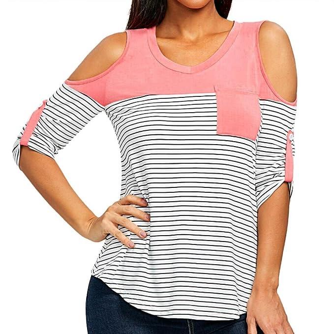 ❤ Camisa Hueco Mujer,Moda Mujer Recorte Abierto Hombro con Rayas Camiseta Strapless O-Cuello Bolsillos Tops Absolute: Amazon.es: Ropa y accesorios