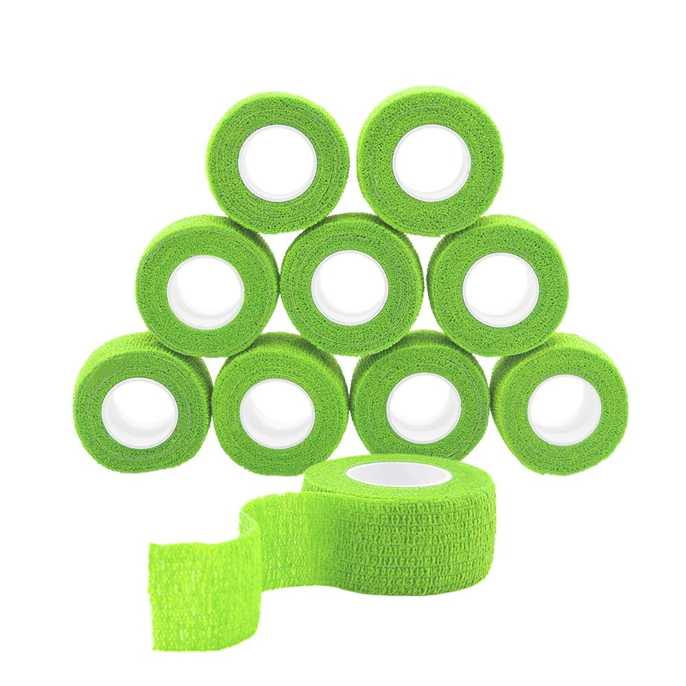 GooGou Self Adhesive Bandage Finger Tape Rolls Non-woven Ventilate Flexible Wrap for Sprain Swelling and Soreness on Wrist and Ankle 10PCS 1 in X 14.7 ft (green)