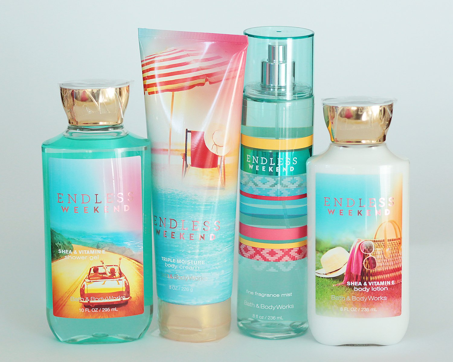 Bath and Body Works Endless Weekend Gift Set of Shower Gel, Body Cream, Body Lotion and Mist : Beauty