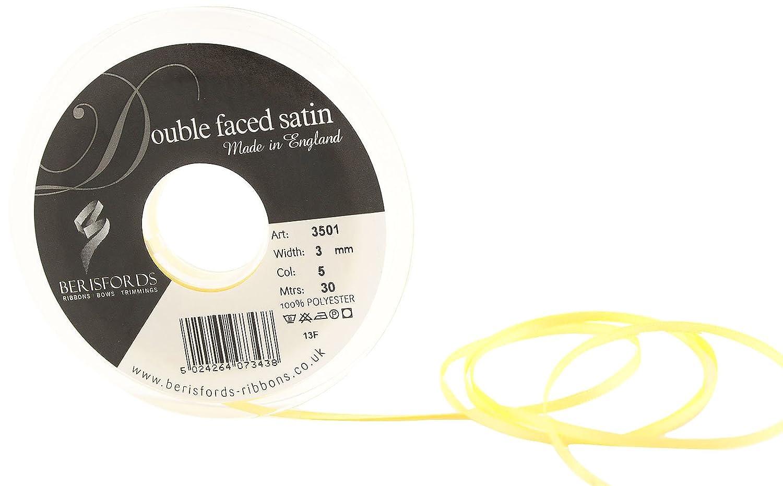 Berisfords 3501 Doppelseitiges Satinband, 30 m x 3 mm, Zitronengelb