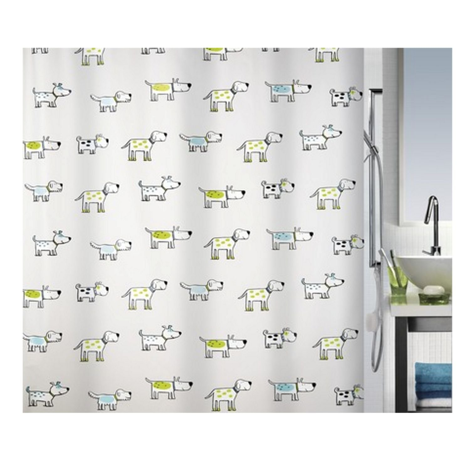 Amazon.com: Spirella Green Doggi Waterproof PEVA Shower Curtain ...