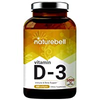 NatureBell Vitamin D3 Liquid Softgels, Vitamin D3 5000 IU, 480 Counts, Strongly Support Muscle, Bone and Immune Health, Non-GMO