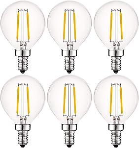 Luxrite 4W Vintage G16.5 LED Globe Light Bulbs Dimmable, 2700K Warm White, 400 Lumens, E12 LED Bulb 40W Equivalent, Clear Glass, Edison Filament LED Candelabra Bulb, UL Listed (6 Pack)