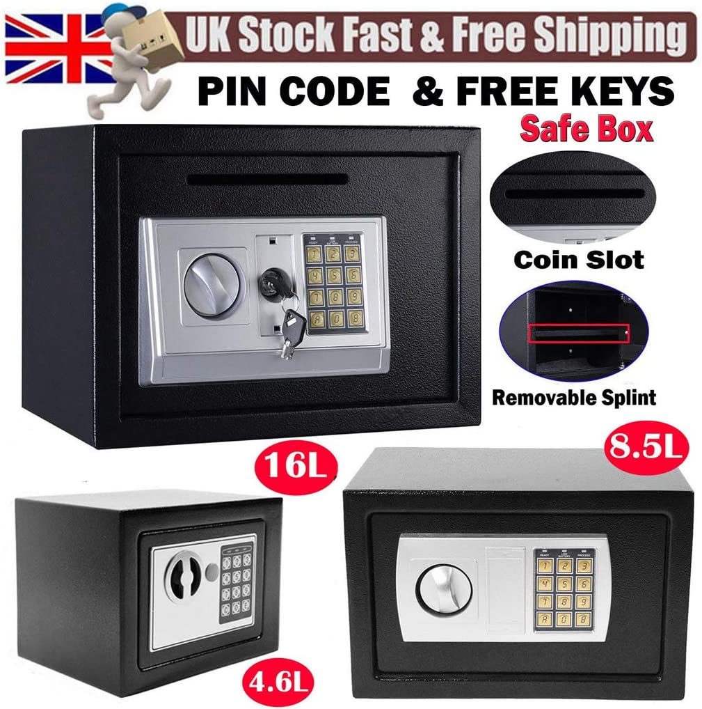 35 Digital Key Safe Box Wall Mounted with Slot 25cm 16L Heavy Duty Safe Large Lock Box with 4 Locking Bolts and 2 Keys for Home Hotel Security 25 Black