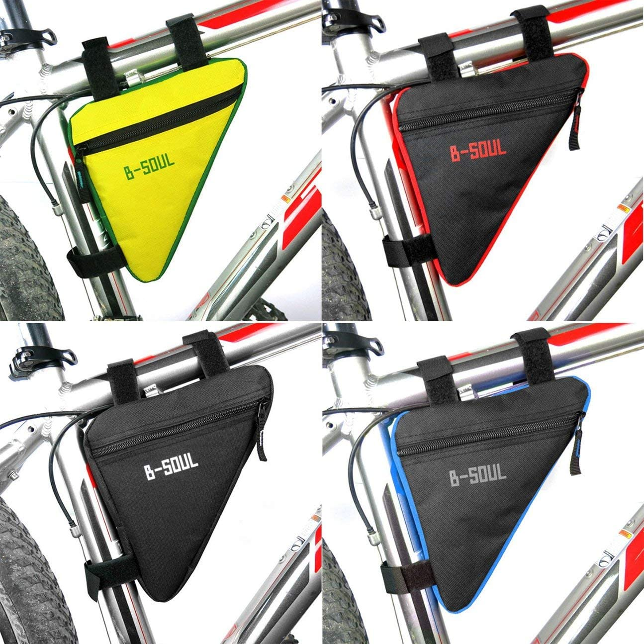 COLOR:black/&red HIPENGYANBAIHU B-SOUL Waterproof Triangle Cycling Bicycle Bags Front Tube Frame Bag Bike Holder Saddle Pouch Handlebar Bike Accessories