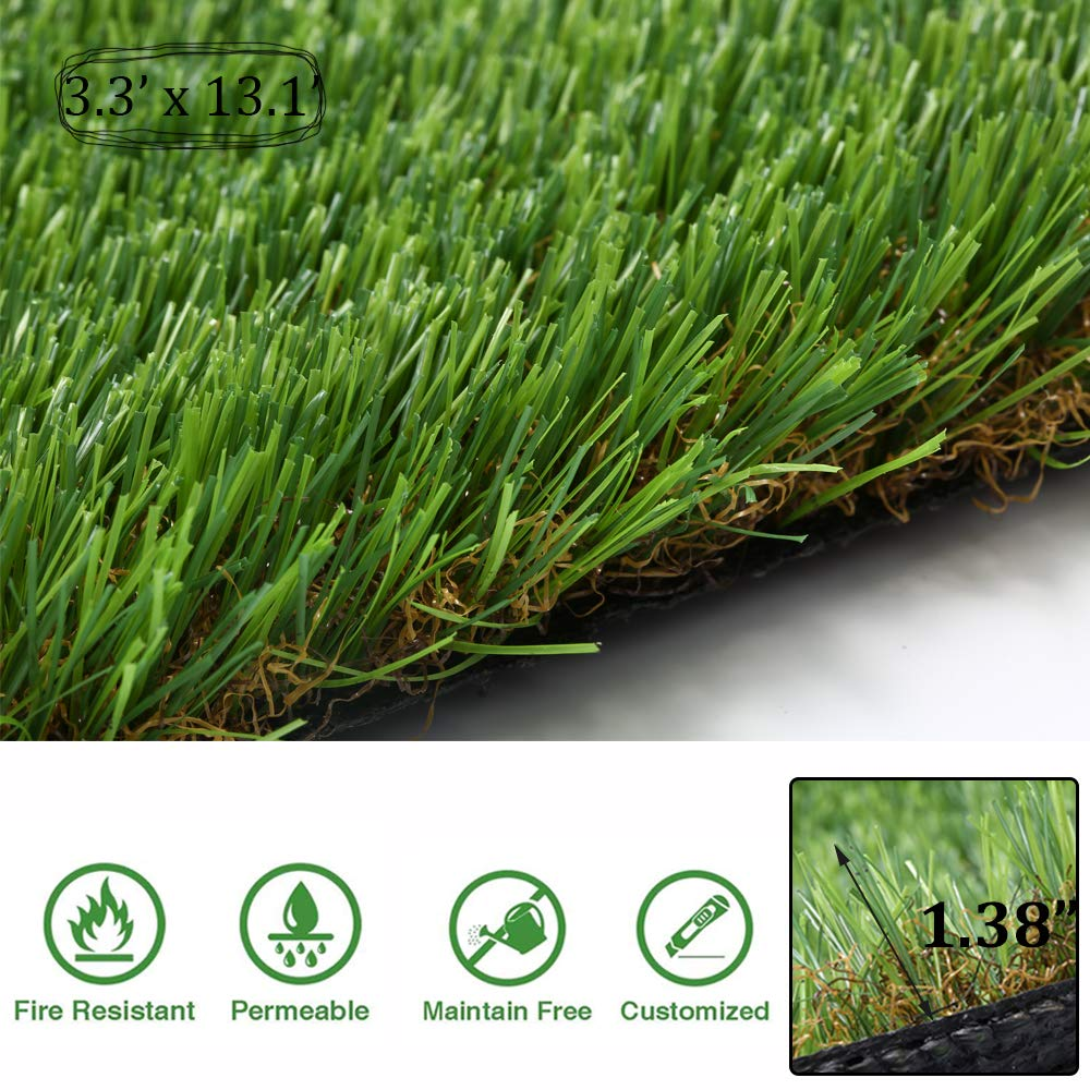 Artificial Grass Turf Synthetic Thick Rug Fake Carpet Mat Easy Care Rubber Backed With Drainage Holes Area Mat Garden Doormat Indoor Outdoor Lawn Landscape, 1.38 Inch Pile Height