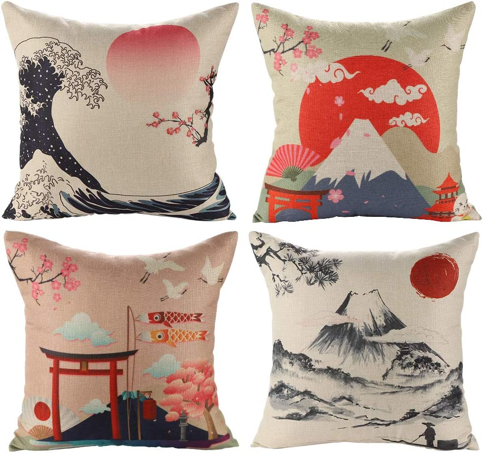 Jotom Cotton Linen Cushion Covers Decorative Throw Pillow Case Sofa Car Pillowcase For Home Bed Decor 45 X 45cm Set Of 4 Japanese Style B Amazon Co Uk Kitchen Home