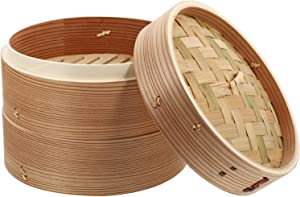 HEMOTON Wooden Food Steamer Basket Dumpling Steamer Bao Bun Chinese Food Steamers for Rice Vegetables Meat Fish (2 Tier, Lid)