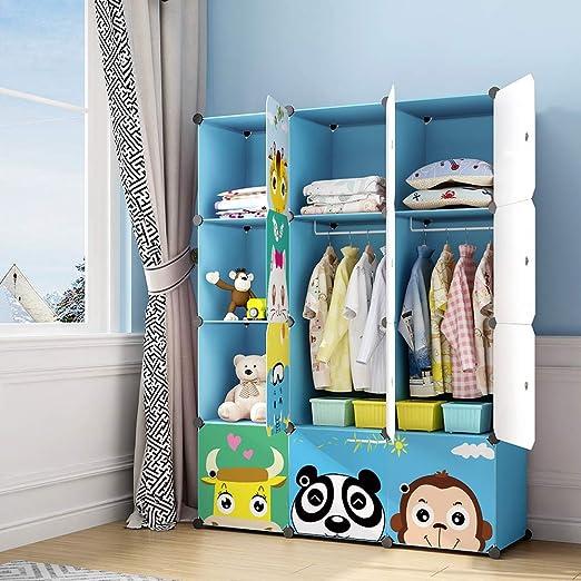 MAGINELS Children Wardrobe Kid Dresser Cute Baby Portable Closet Bedroom  Armoire Clothes Hanging Storage Rack Cube Organizer ,Large Blue 8 Cube & 2  ...