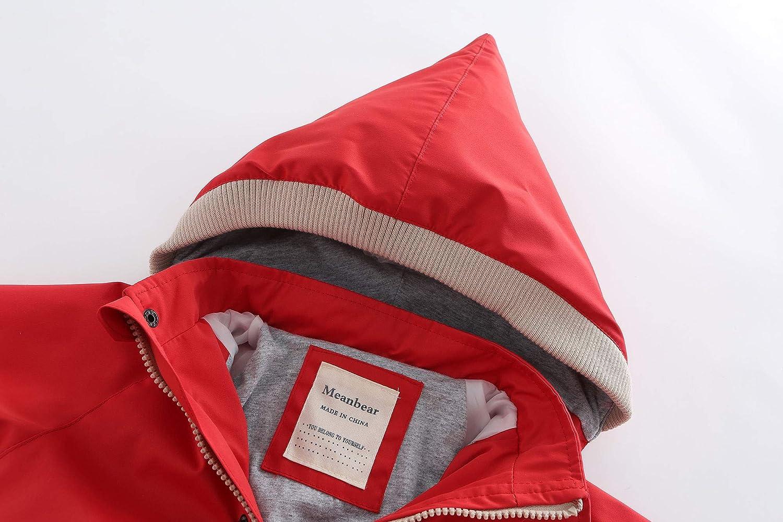 Boy Girl Jacket Hooded Windbreaker Waterproof Zip Up Button Outwear Kid Rain Coat