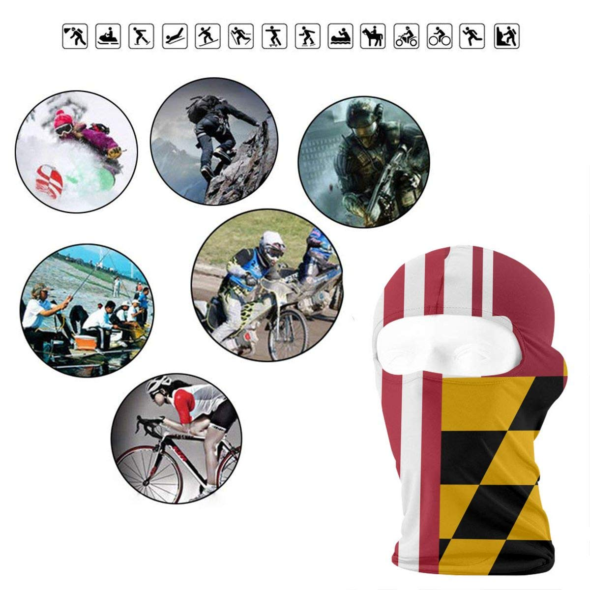 BEIKE6/&MIAN Maryland Flag American Flag Balaclava-Ski Mask for Men Women Snowboarding Face Mask Hood