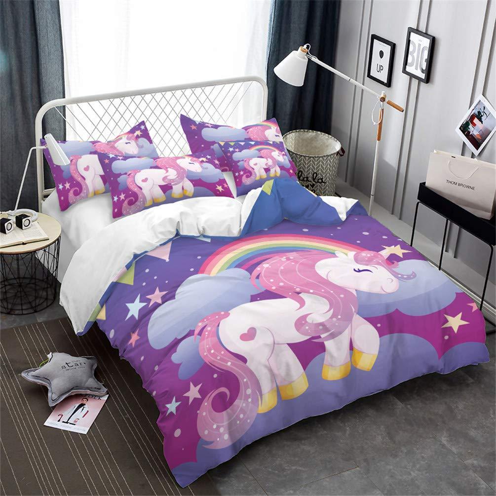 Children's Bedding Cute Cartoon Unicorn Pattern Duvet Cover Set Print Microfiber Duvet Cover 3pcs, Super Comfortable and Smooth