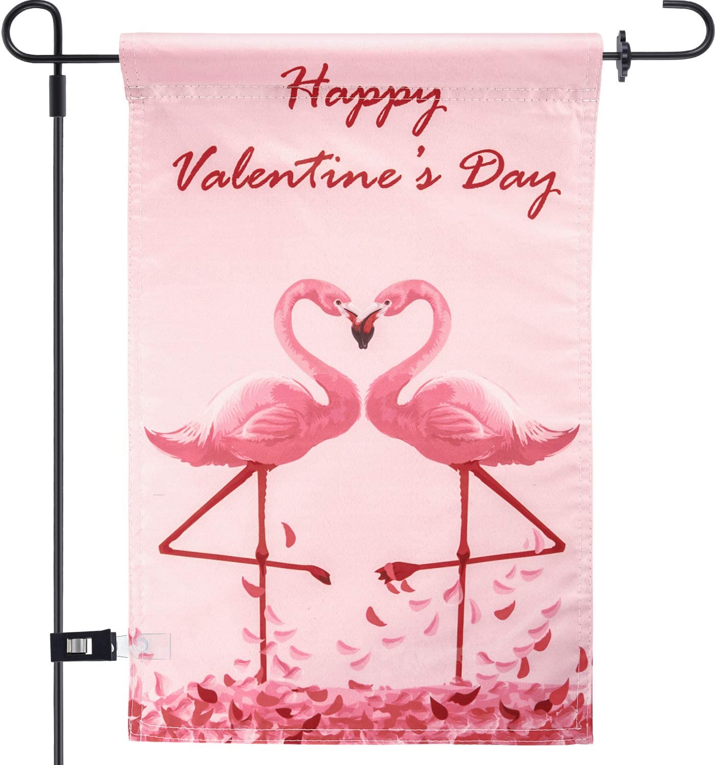 Chuangdi Garden Flag 12 x 18 Inch Decorative Valentine Day Heart Garden Flag with 1 Rubber Stopper and 1 Clear Anti-Wind Clip (Color 4)