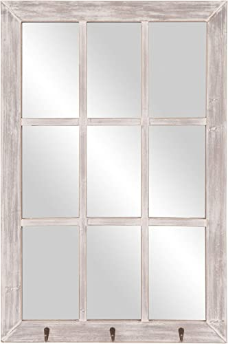 24×36 Distressed White Windowpane Wall Mirror with Hooks