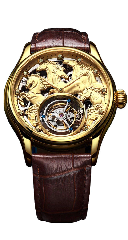 BOSメンズTourbillon Mechanical Luxury 24 KゴールドメッキPersonalizedカスタムステンレススチールWatch馬パターンスケルトンプライベートカスタマイズ防水ドレス腕時計 M Color 1 - Gold B07CVH7JH5 Color 1 - Gold Color 1 - Gold
