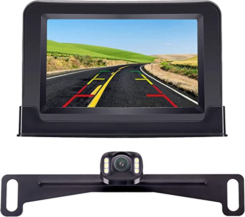 Amtifo Backup Camera For Cars,Pickups,Trucks,Easy Installation HD 720P High-Speed Observation System With 4.3 Inch Monitor,Adjustable Rear Front View Camera,Super Night Vision,Guide Lines On Off