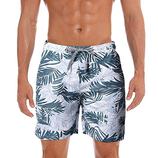 fa1ea841ecb Corriee 2019 Gift Idea Mens Board Shorts Summer Casual Leaf Print  Drawstring Beach Pants Mens Quick Dry Swim Trunks | Amazon.com