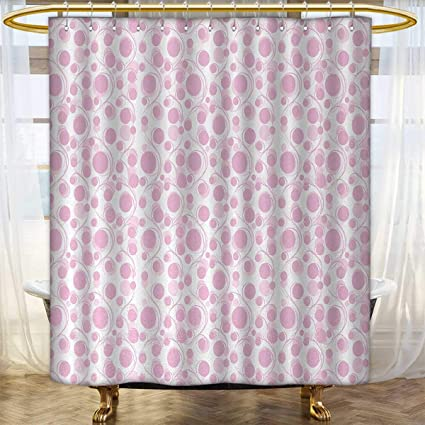 Anhounine Pink And White Widened Shower Curtain Customized Curly Swirled Skinny Stems With Big Small