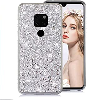 Moiky Rouge Glitter Coque pour Huawei Mate 20 Pro,Cristal Placage Étui pour Huawei Mate 20 Pro, Luxe 3D Paillette Brillant Strass Diamant Ultra Slim Flexible Soft TPU Silicone Antichoc Housse
