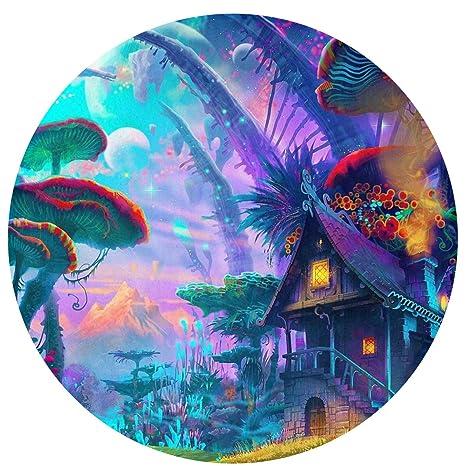 . Amazon com   Huangwei Trippy Psychedelic Mushroom Castle Round Door