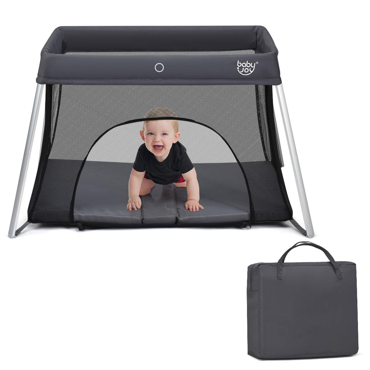 BABY JOY Baby Foldable Travel Crib, 2 in 1 Portable Playpen with Soft Washable Mattress, Side Zipper Design, Lightweight Installation-Free Home Playard with Carry Bag, for Infants & Toddlers (Grey)