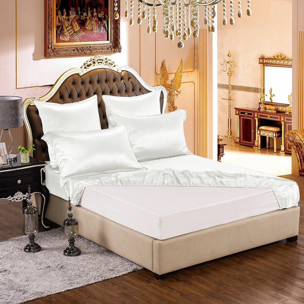 THXSILK 1 Piece Silk Fitted Sheet Luxury Silk Sheet, Deep Pocket - Ultra Soft, Machine Washable, hypoallergenic, Durable - 100% Top Grade Mulberry Silk, Queen Size, White