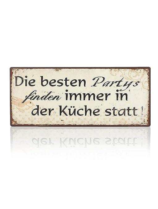 Lafine Schild - Die besten Partys Finden Immer in der Küche statt -  Blechschild Vintage Türschild 30 cm