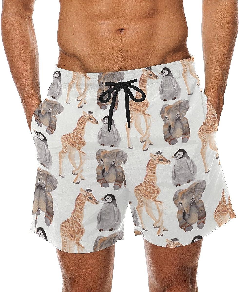 Mens Quick Dry Swim Trunks Polyester Elephant,Tiger,Giraffe Pattern Beachwear with Pockets