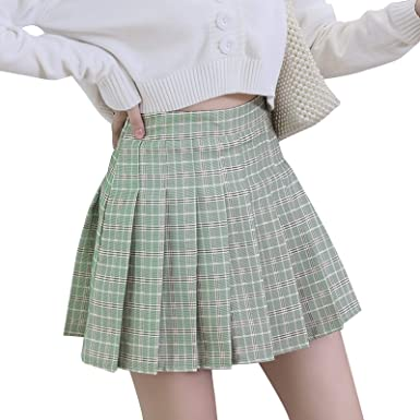 Womens Pleated Plaid Skirt High Waisted Mini Skater Tennis School Skirts for Cheerleader with Shorts