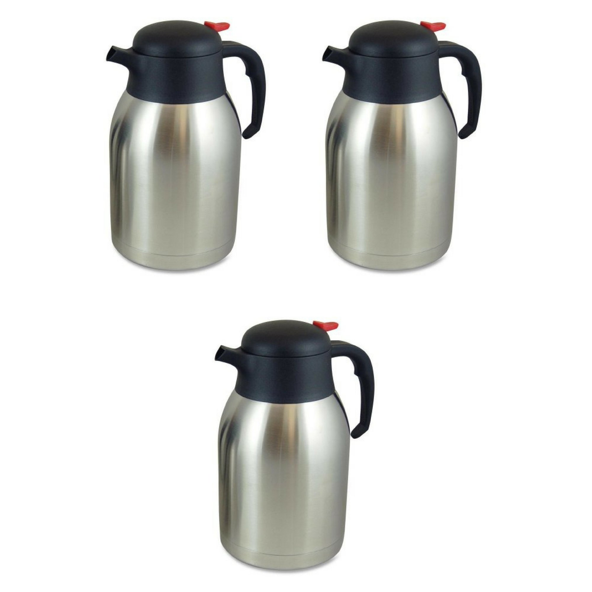 Genuine Joe GJO11956 Stainless Steel Everyday Double Wall Vacuum Insulated Carafe, 2L Capacity - 3 Packs