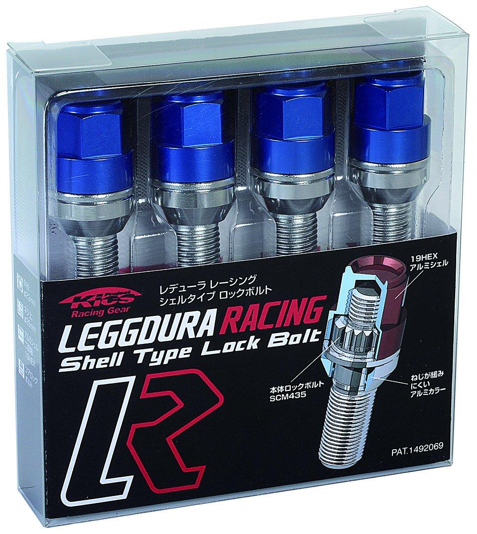 KYO-EI (協永産業) ホイールロックボルト LEGGDURA RACING Lock Bolt 【 M14 x P1.25 】 テーパー : 60° 【 首下 : 35mm 】 ブルー KIL3535U B00YBS80E0 ブルー ブルー