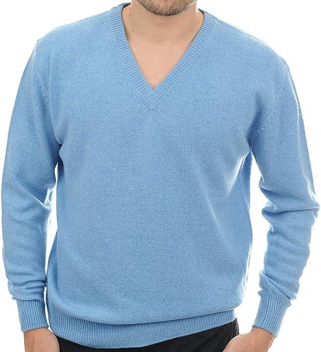 Balldiri 100% Cashmere Kaschmir Herren Pullover V-Ausschnitt 4-fädig  azurablau meliert XXXL at Amazon Men s Clothing store  b803dc90d0