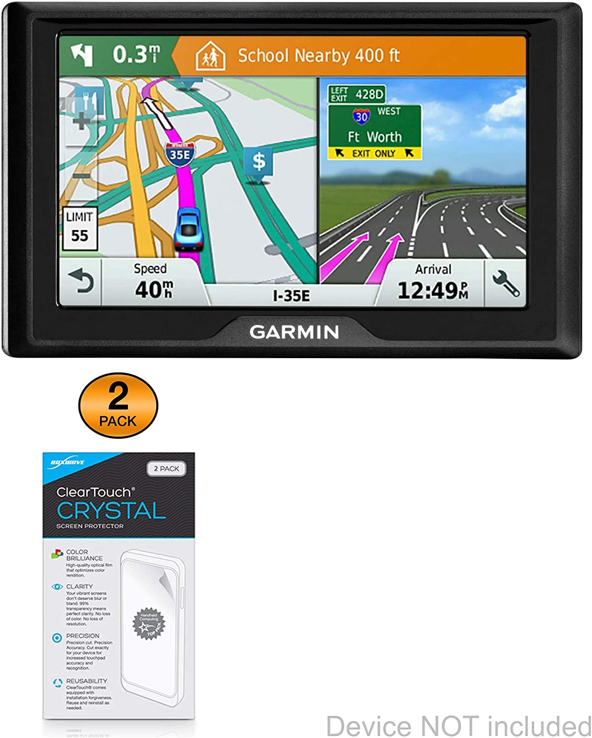 HD Film Skin BoxWave Garmin Drive 50 Screen Protector, ClearTouch Crystal Shields from Scratches for Garmin Drive 50 2-Pack