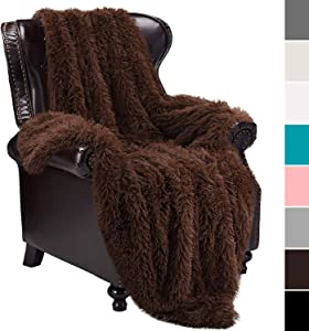 """junovo Super Soft Shaggy Longfur Faux Fur Blanket, Fuzzy Throw Blanket for Bed, Fluffy Cozy Plush Light Blanket, Washable Warm Furry Throw Blanket for Couch Sofa Chair Home Decor, 60""""x80"""" Brown"""