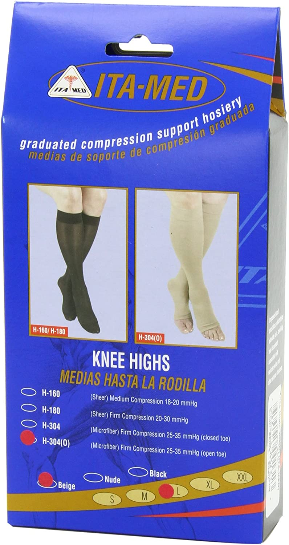 Compression 25-35 mmHg ITA-MED Open Toe Knee Highs : H-304 XX-Large Beige