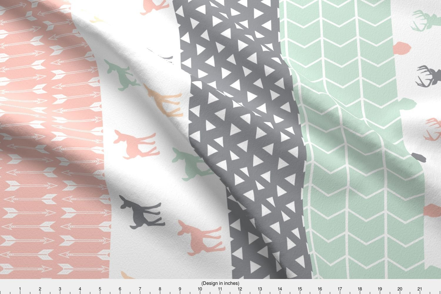 1e678134b61 Amazon.com: Spoonflower Woodland Fabric - Girl Woodland Cheater Quilt Fabric  by littlearrowdesign - Woodland Fabric Printed on Basic Cotton Ultra Fabric  by ...