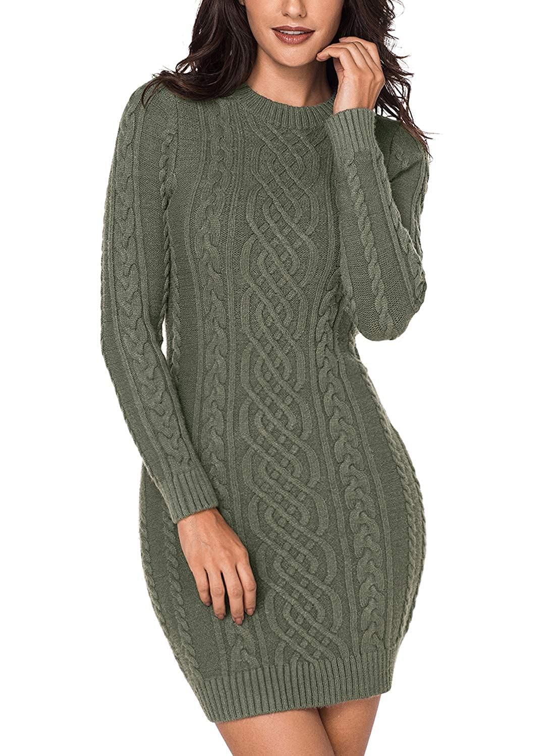 Sidefeel Women Asymmetric Buttoned Cable Knit Bodycon Mini Sweater Dress Jumper HX27864