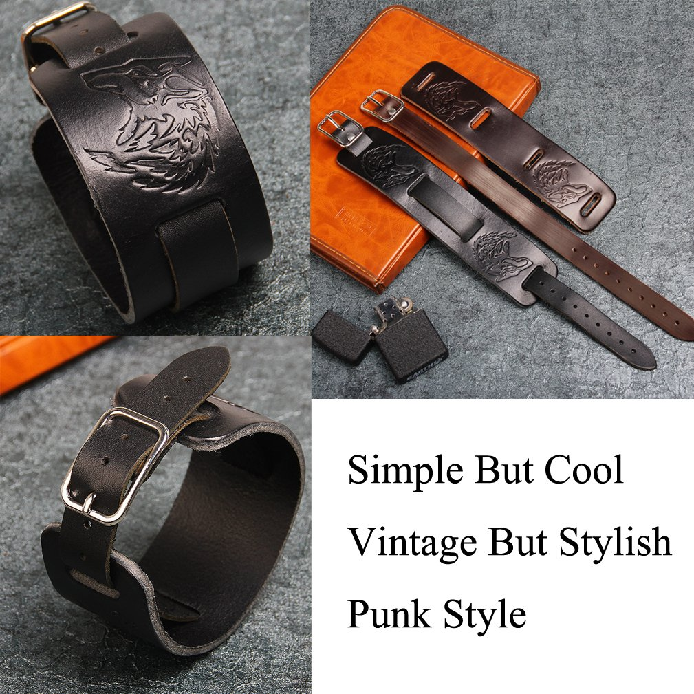 4EAELove Punk Style Leather Bracelet Genuine Leather Wolf Head Wristbands Bracelet Wide Belt Cuff Bangle by 4EAELove (Image #3)