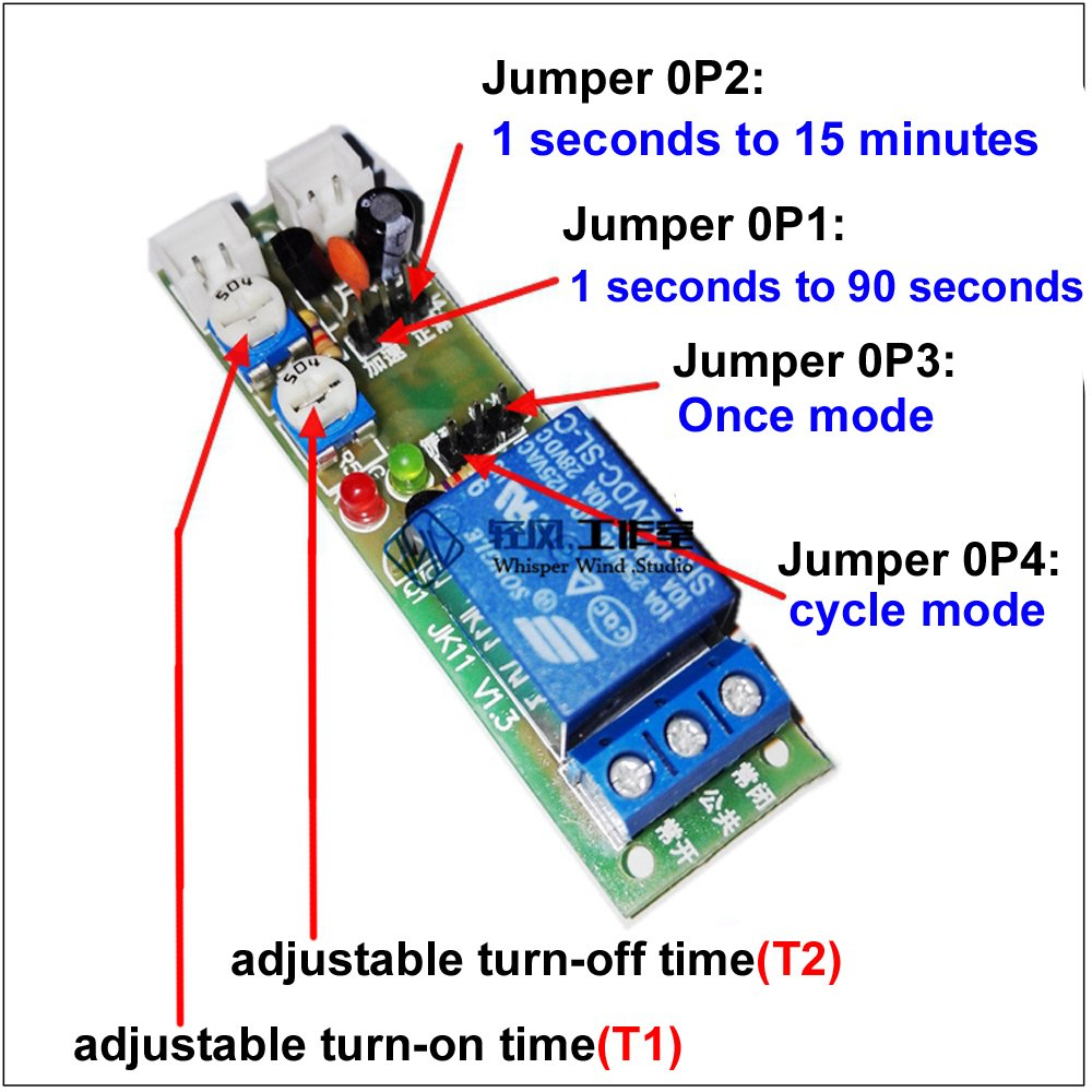 Qianson Dc 5v 12v 24v Infinite Cycle Delay Timing Timer Mains Trigger Musical Door Bell Circuit Relay On Off Switch Loop Module 1s15min Home Kitchen