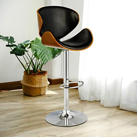COSTWAY Bar Stool Adjustable Height Swivel Walnut Bentwood PU Leather Home Bar Stool with Curved Black Vinyl Seat and Back 1