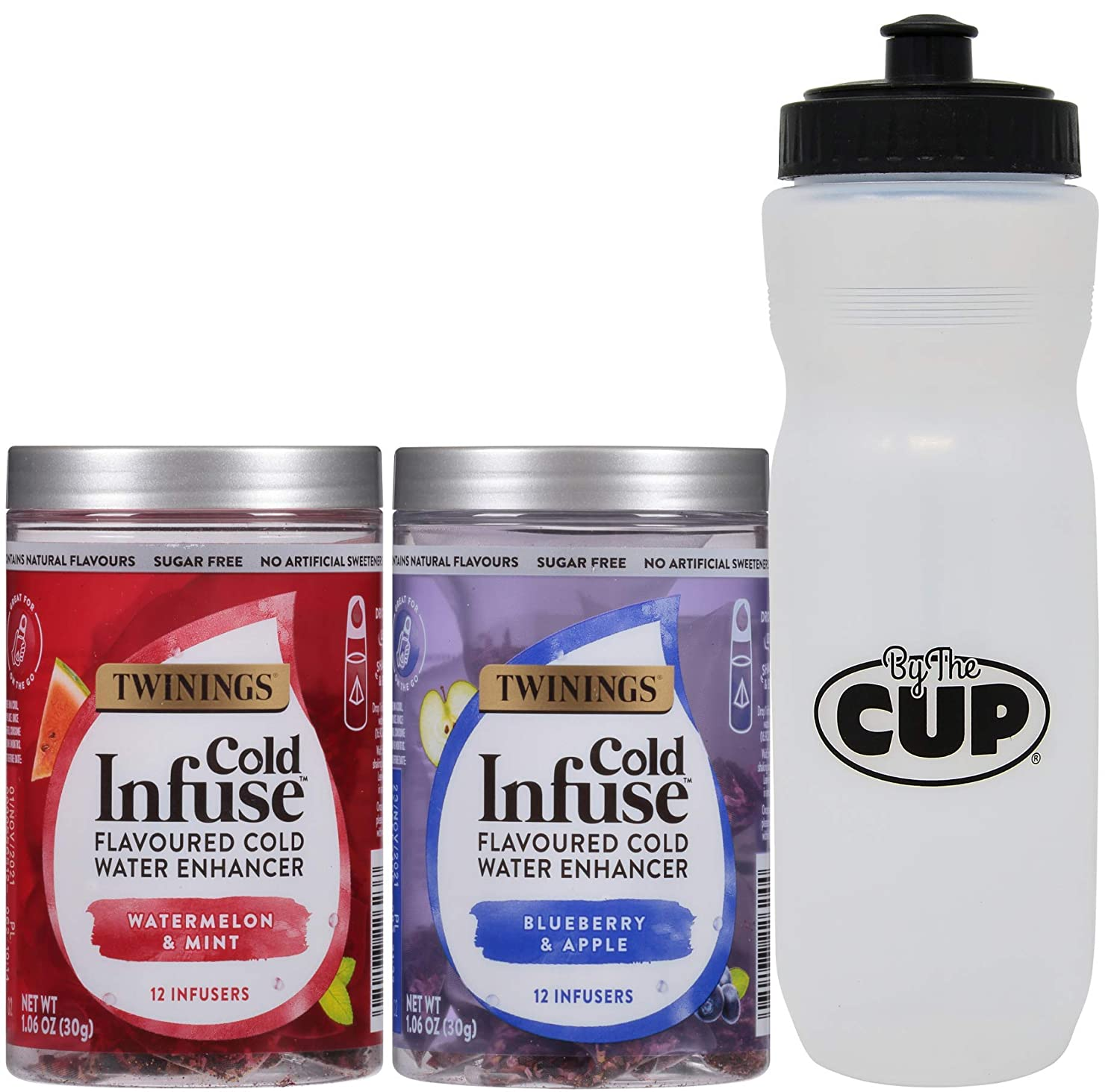 Twinings Cold Infuse Flavoured Cold Water Enhancer Variety, Watermelon & Mint and Blueberry & Apple with By The Cup Sports Bottle