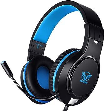 Todo para el streamer: Karvipark H-10 Auriculares Gaming para PS4/Xbox One/Nintendo Switch/PC/Laptop, Auriculares Premium con Micrófono Cancelación de Ruido Cascos Gaming con Cable, Diadema Acolchadas y Ajustable(Azul)