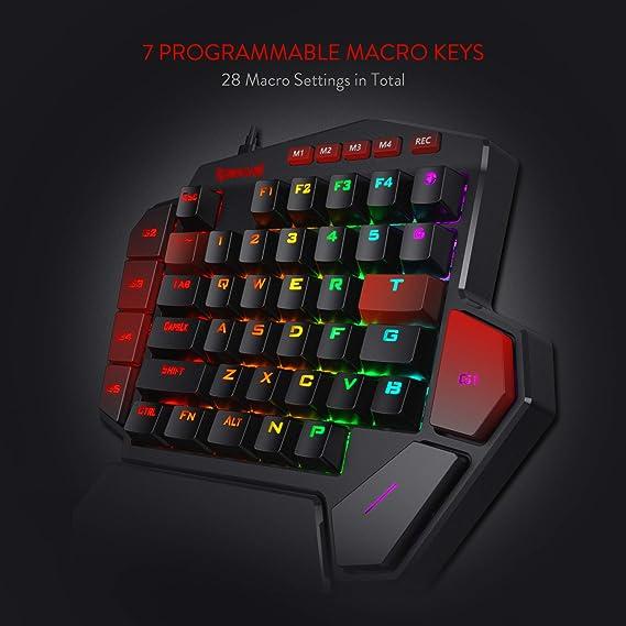 Redragon K585 DITI Teclado mecánico de una Mano gaming RGB, interruptores Azules, Teclado ergonómico pequeño para Juegos, USB Tipo C con Teclas Macro, ...