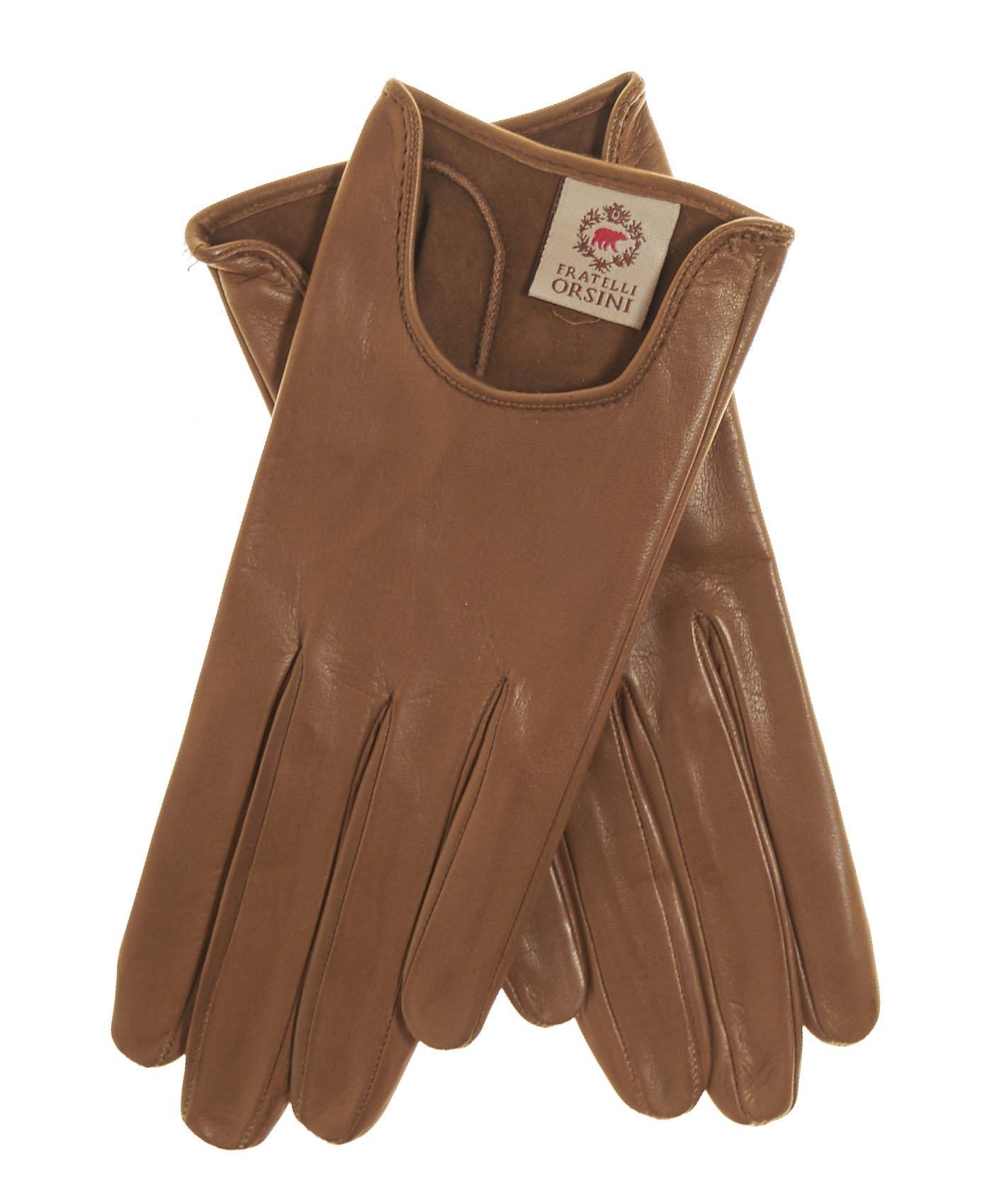 Fratelli Orsini Women's Short Unlined Italian Leather Gloves Size 7 1/2 Color Camel